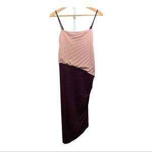 HALSTON HERITAGE Asymmetric Pleated Dress Pink 8